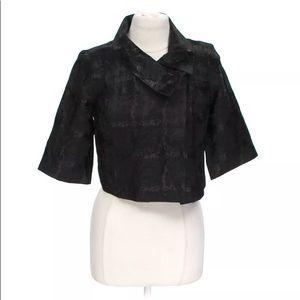 Black Textured Short Crop Jacket